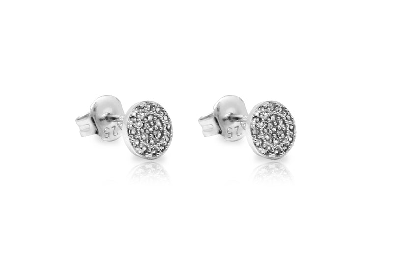 Ranaut Clear CZ Silver Stud Earrings