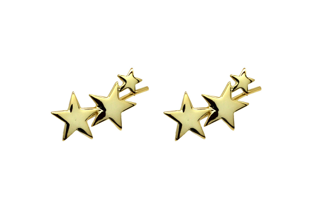 Saldana Gold 3 Star Pull-through Earrings