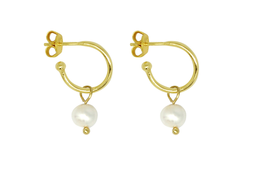 Sanchez Gold & Pearl Hoop Earrings