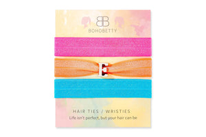 Fluoro Letter Hair Tie/ Wristie Set - Boho Betty