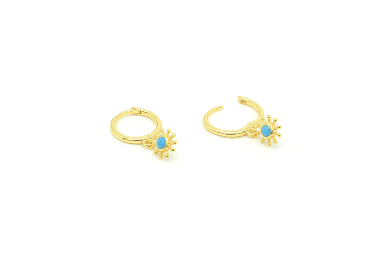 Field Blue Gold Sunburst Drop Earrings - Boho Betty