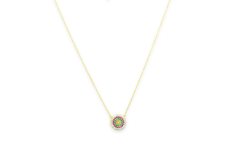 Fizz Gold CZ Sterling Silver Disc Necklace - Boho Betty USA