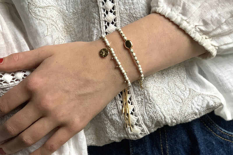 Tangier 2 White and Gold Layered Bracelet Stack - Boho Betty