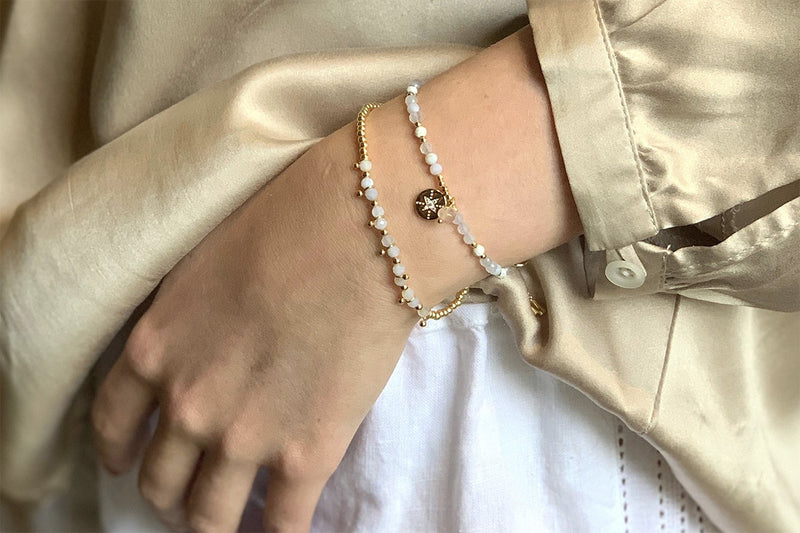 Amrum Natural White & Gold Charm Bracelet - Boho Betty