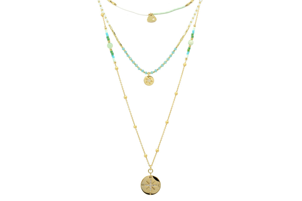 Garuda Gold Mint 3 Layered Necklace Set - Boho Betty