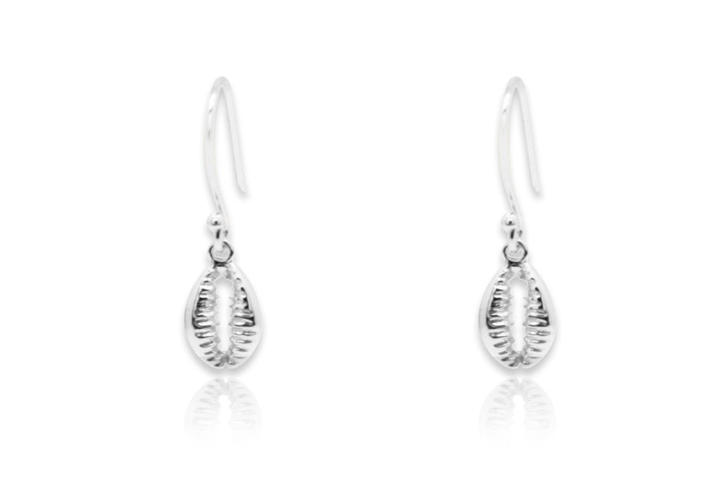 Holt Silver Shell Drop  Earrings - Boho Betty