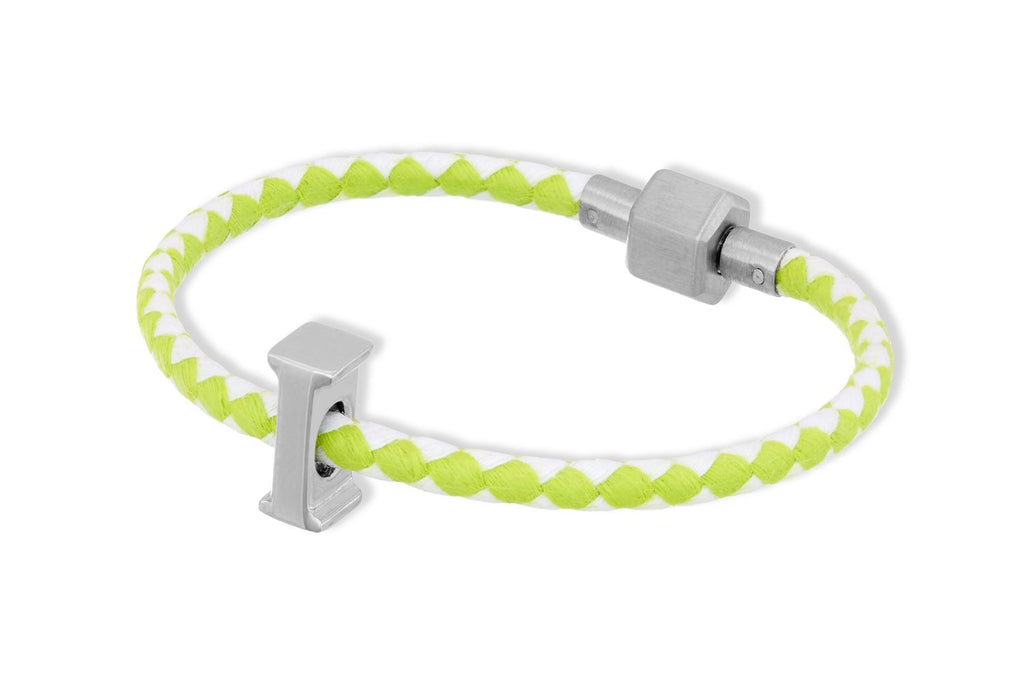 Hydra Lime Wax Cord Letter Bracelet - Boho Betty