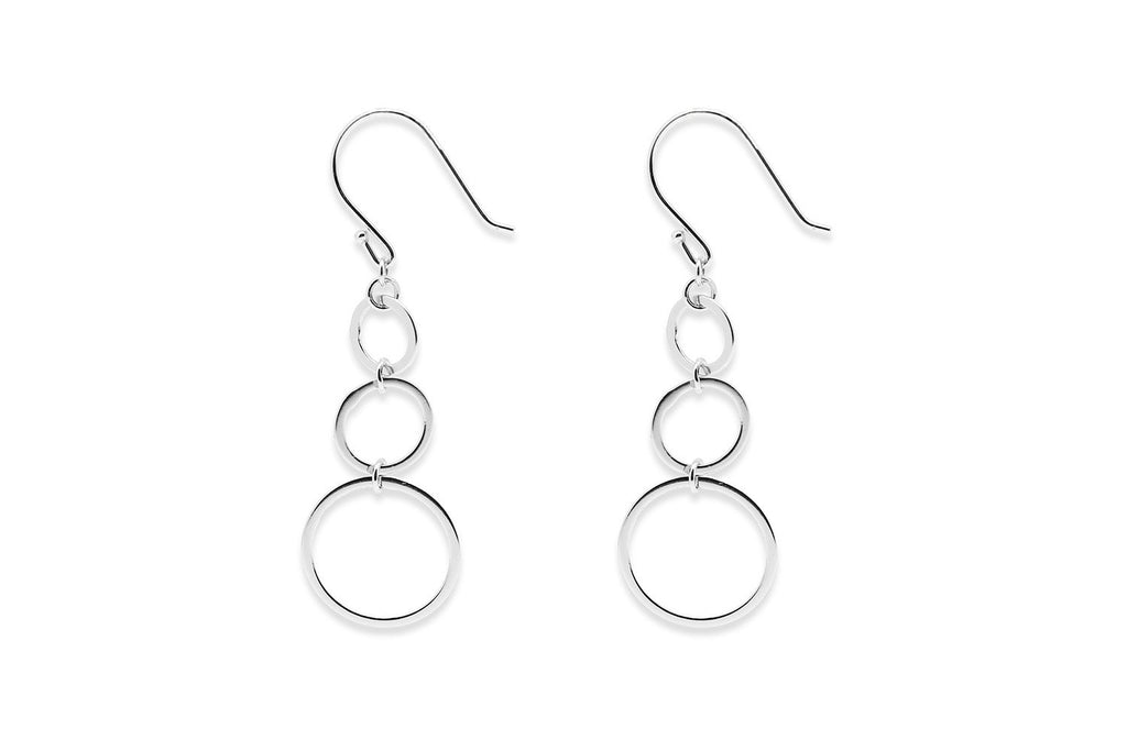 Inescort Silver 3 Circle Earrings - Boho Betty
