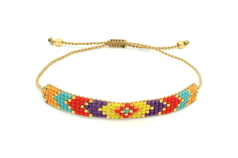 Shine 5 Row Multicolour Miyuki Bead Bracelet - Boho Betty