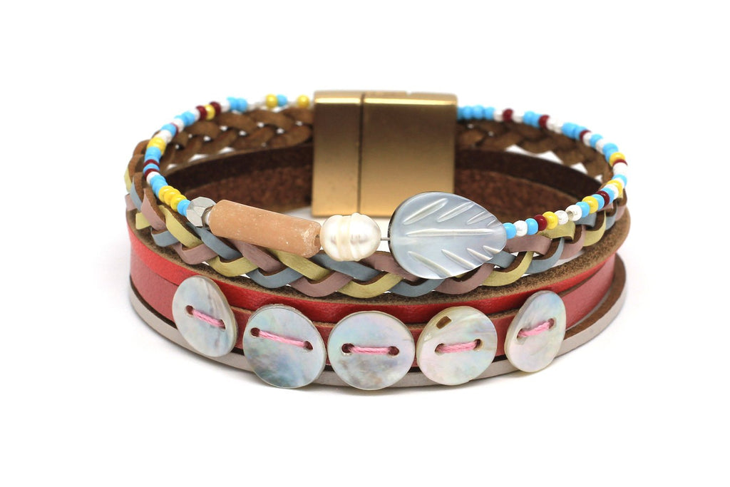Jerboa Multi Leather Magnet Bracelet - Boho Betty