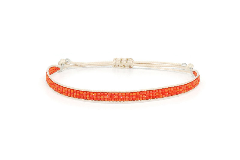 Jive Orange Beaded Friendship Bracelet - Boho Betty