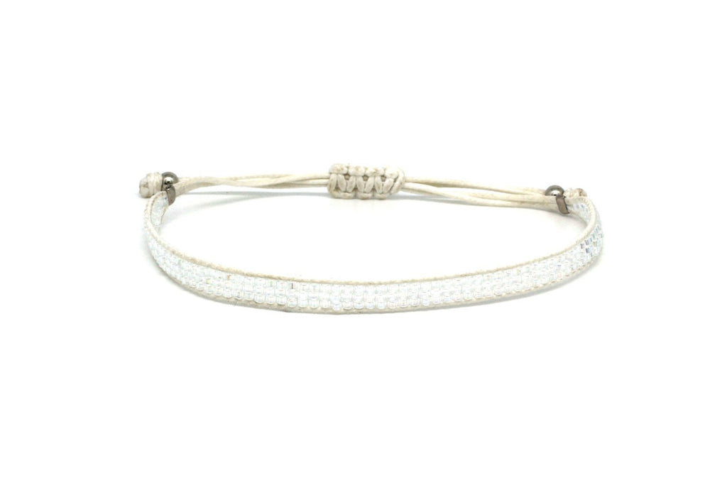 Jive White Beaded Friendship Bracelet - Boho Betty