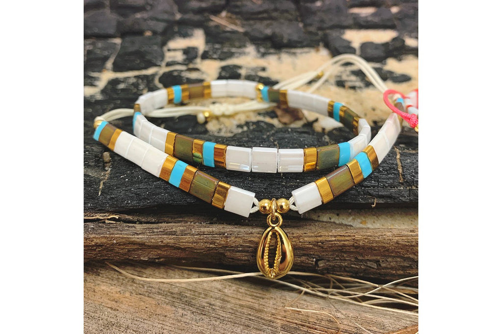 Winberry Gold & White Stretch Tila Bead Bracelet - Boho Betty