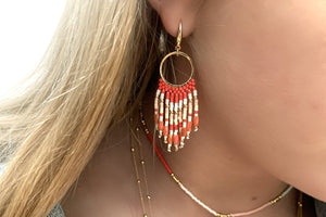 Morinda Coral Beaded Tassel Earrings - Boho Betty