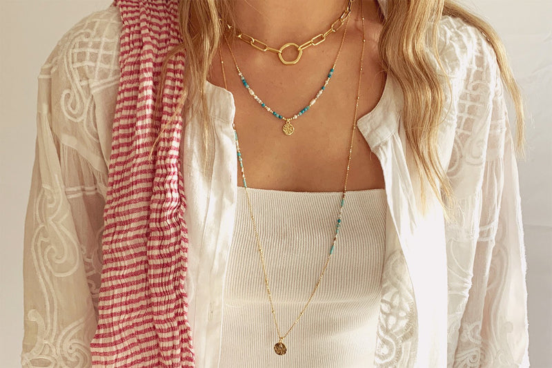 Jarina Aqua & Gold Beaded Necklace - Boho Betty