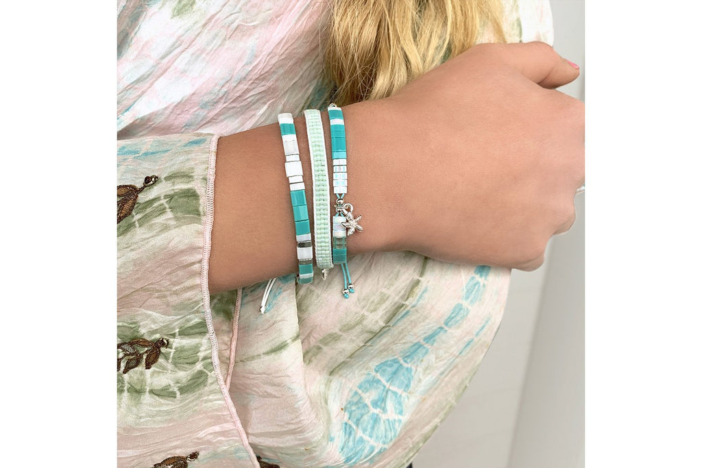 Ackee Aqua Tila Bead Stretch Bracelet - Boho Betty