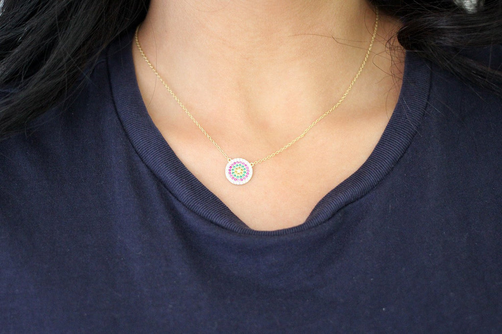Fizz Gold CZ Sterling Silver Disc Necklace - Boho Betty