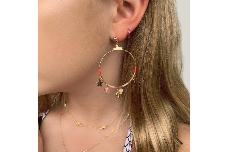 Reddy Rose Gold Hoop Earrings - Boho Betty