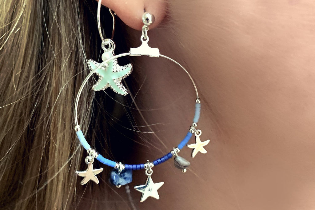 Clementine Mint Starfish Charm Earrings - Boho Betty
