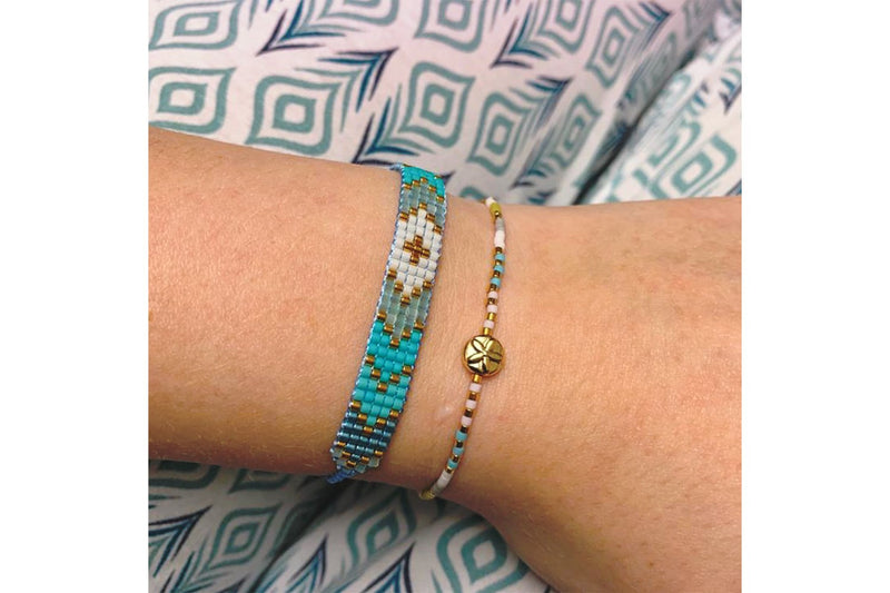 Ossa 2 Layer Aqua Bracelet Stack - Boho Betty