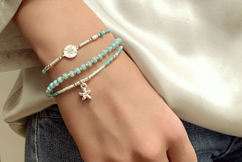 Prunus Mint Green Crystal Stretch Bracelet - Boho Betty