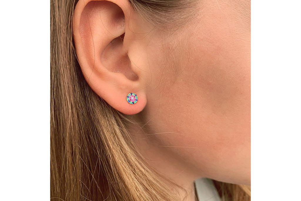 Teles Silver CZ Stud Earrings - Boho Betty