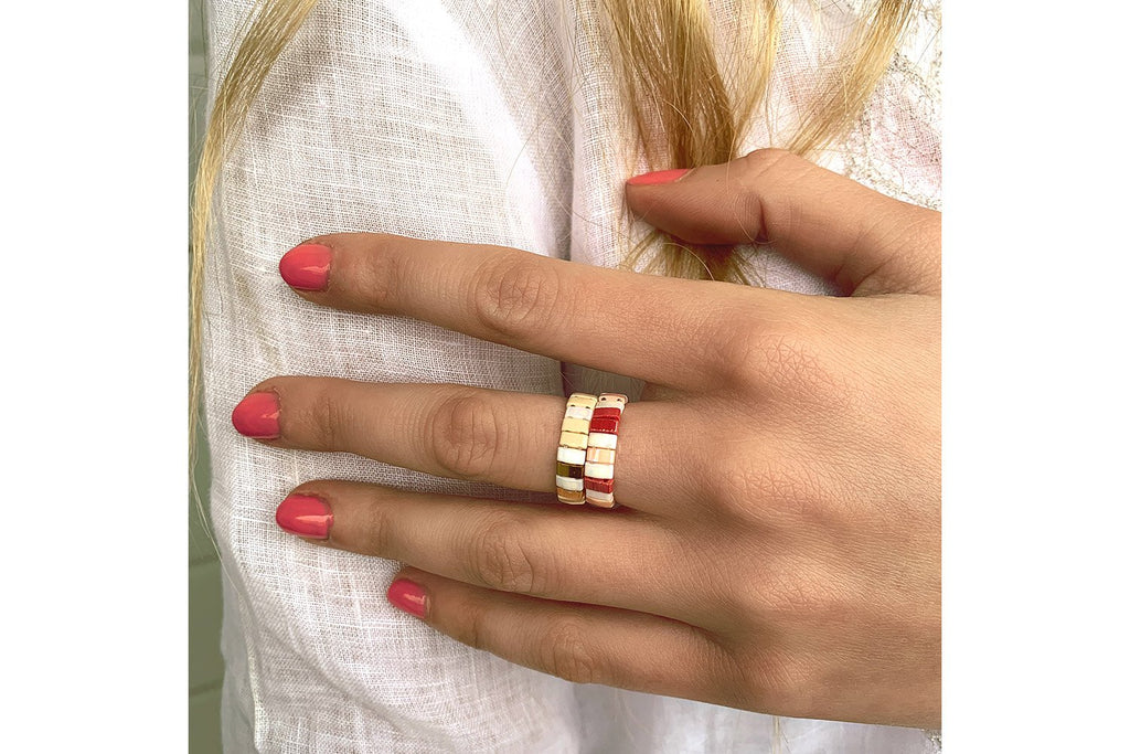 Unzen Coral Tila Bead Ring - Boho Betty USA