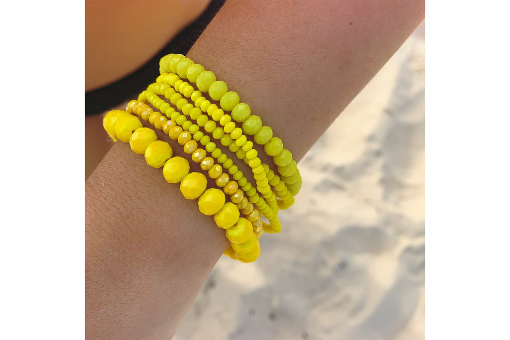 Pomelo 6 Layered Neon Yellow Crystal Bracelet Stack - Boho Betty USA