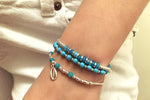 Aprium Blue & Silver Shell Bracelet - Boho Betty USA