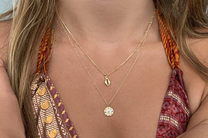 Bellini Sterling Silver Gold Shell Necklace - Boho Betty