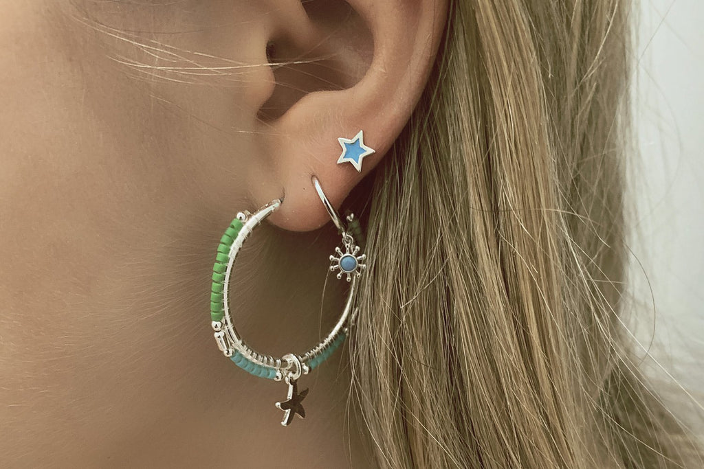 Gardner Gold Star Aqua Stud Earrings - Boho Betty