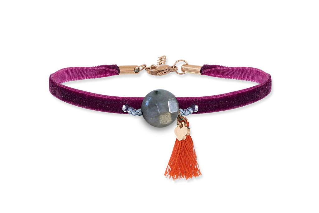 Lyrian Pink Velvet Bracelet - Boho Betty