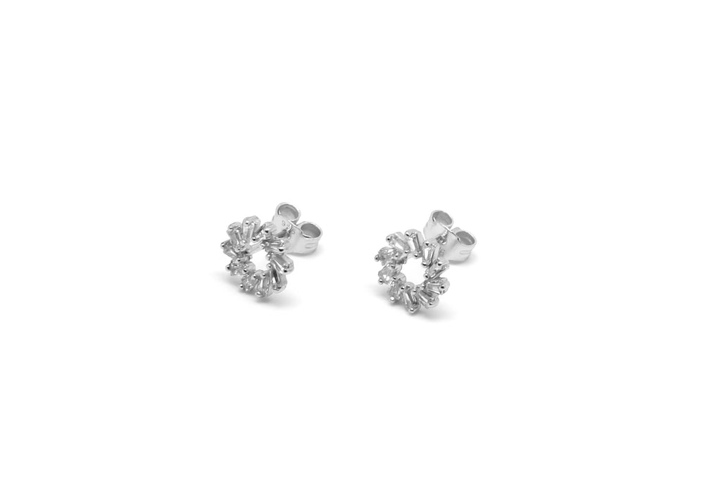 Maeve Silver Hollow CZ Stud Earrings - Boho Betty