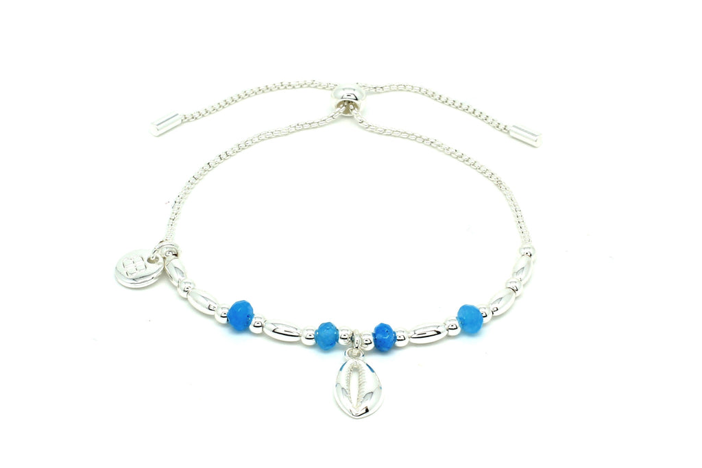 Aprium Blue & Silver Shell Bracelet - Boho Betty