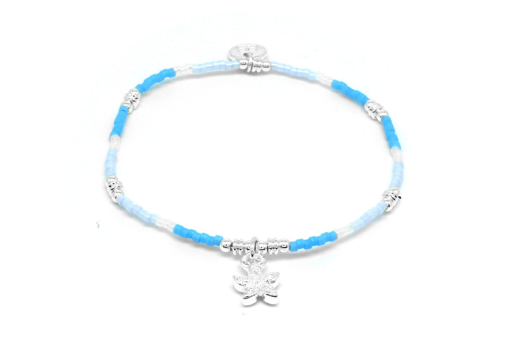 Tamarind Blue Starfish Charm Stretch Bracelet - Boho Betty