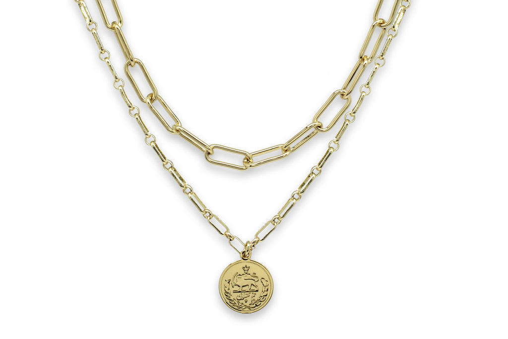 Beira Gold 2 Chunky Chain Layering Necklace Set