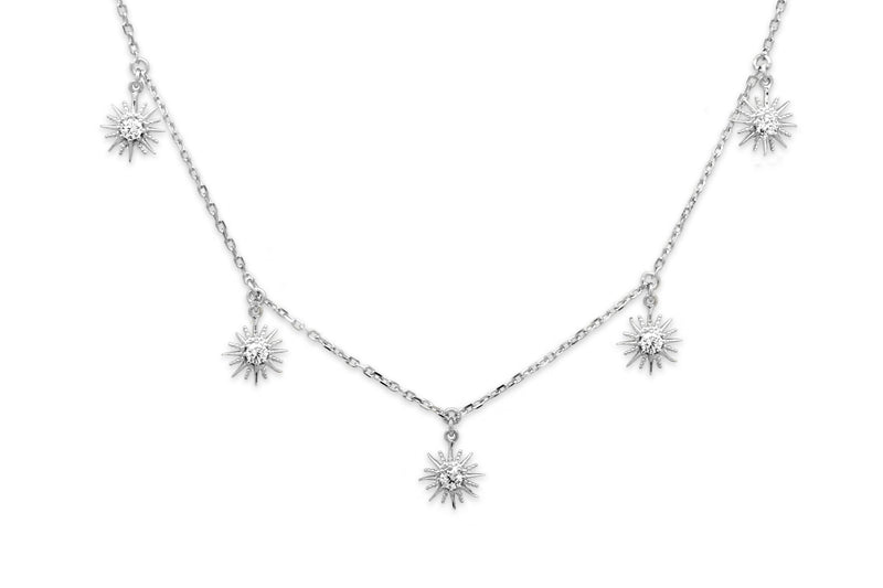 Calvados CZ Sunburst Charm Silver Necklace