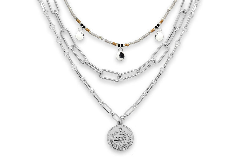 Hora Silver 3 Layer Necklace Set