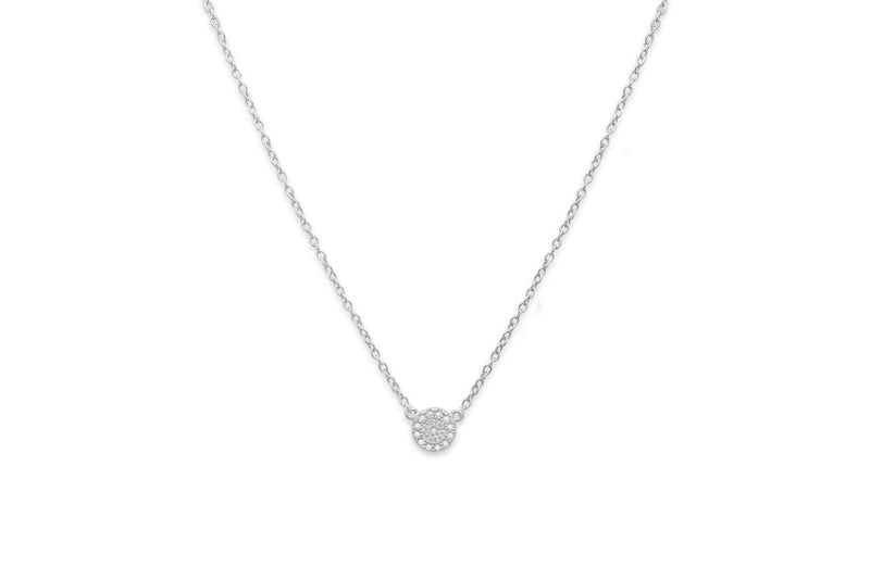 Marnier Silver Clear Disc Necklace
