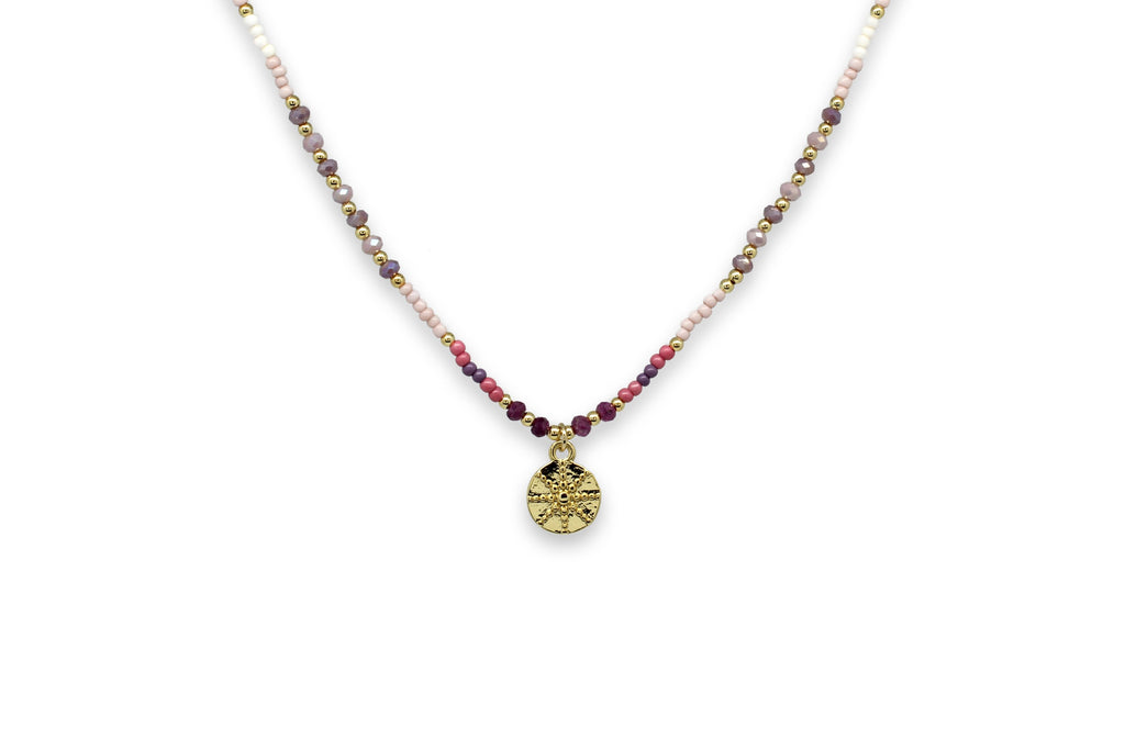 Mazu Pink Beaded Necklace with Starburst pendant
