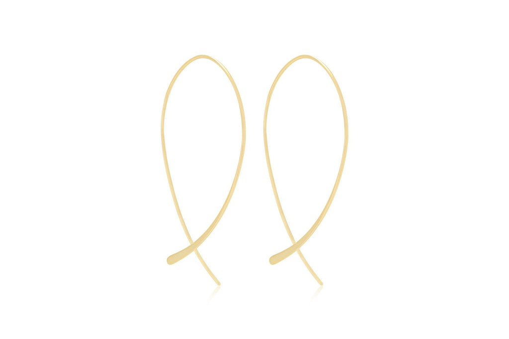 Parton Sterling Silver Gold Curved Thread-through Earrings - Boho Betty