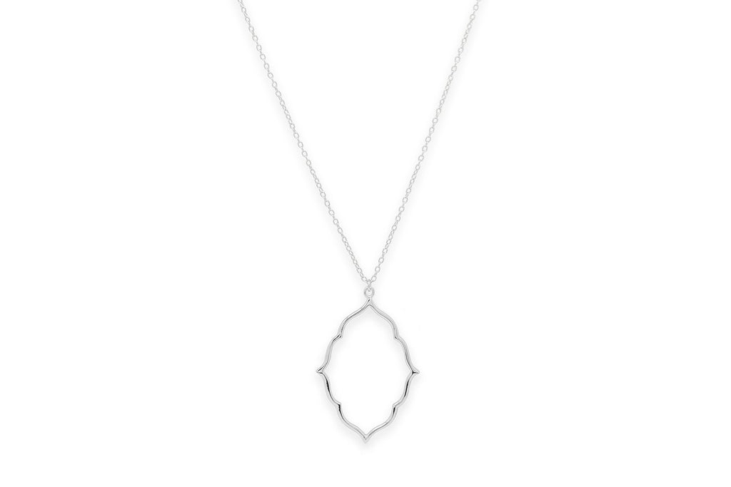 Punch Silver Oval Necklace - Boho Betty