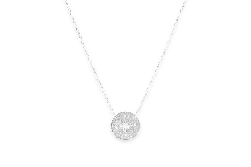 Rum Silver Compass Disc Necklace - Boho Betty