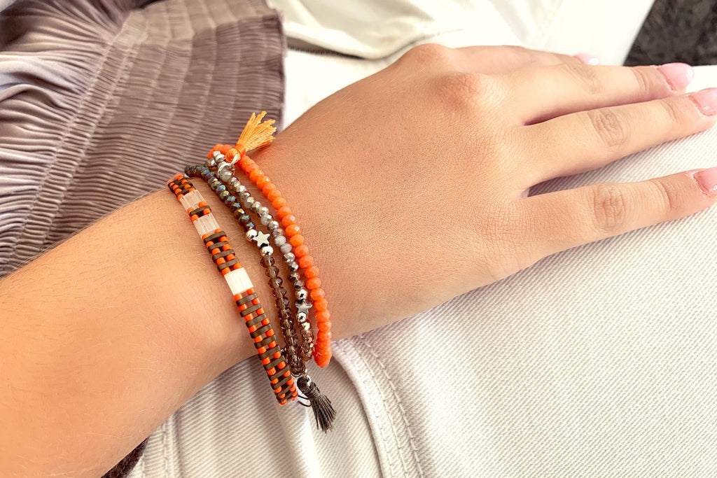 Honey Tila Bead Stretch Bracelet - Boho Betty