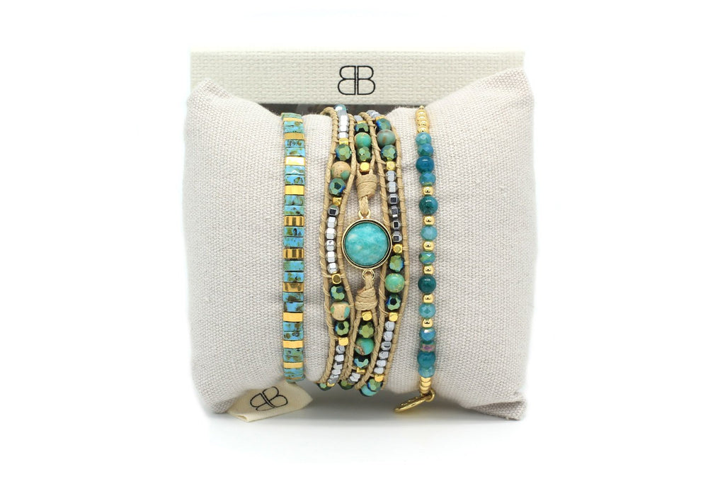 Bellatrix 3 Layered Teal Bracelet Stack - Boho Betty
