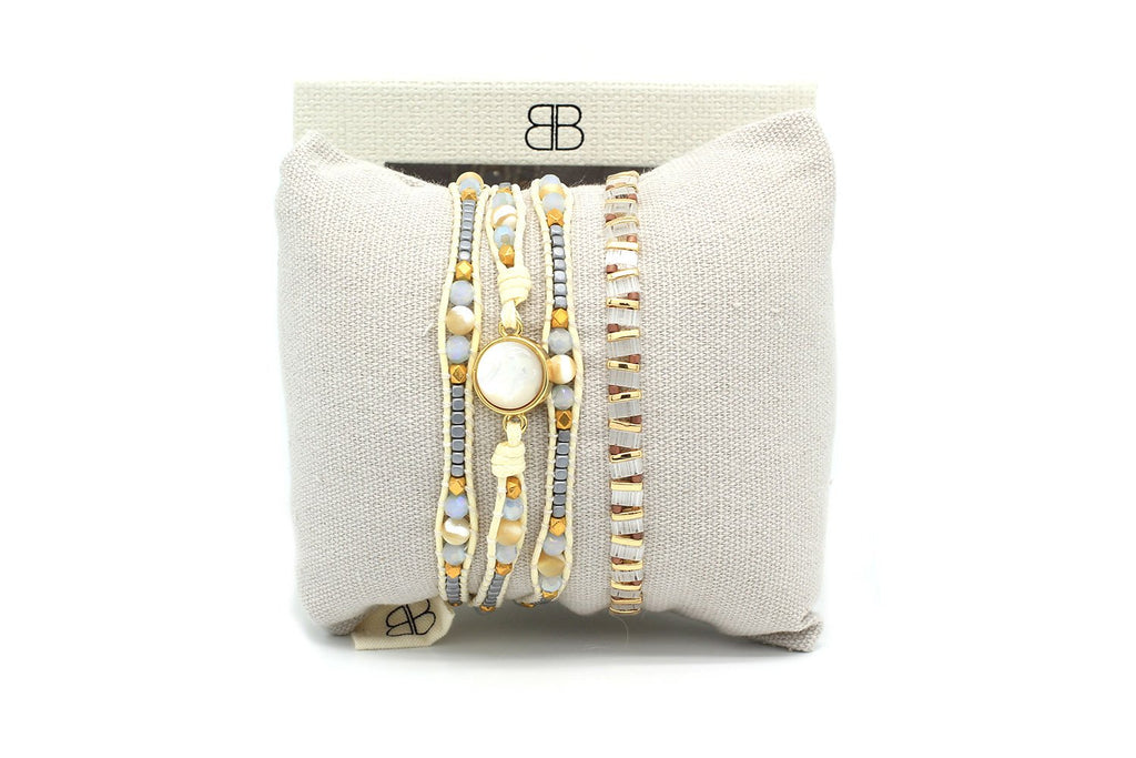 Pinatubo Cream and Gold 2 Layer Bracelet Stack - Boho Betty