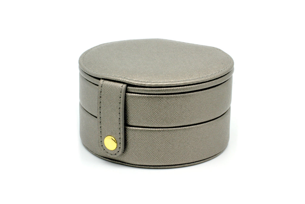 Shalimar Grey Round Jewellery Box - Boho Betty USA
