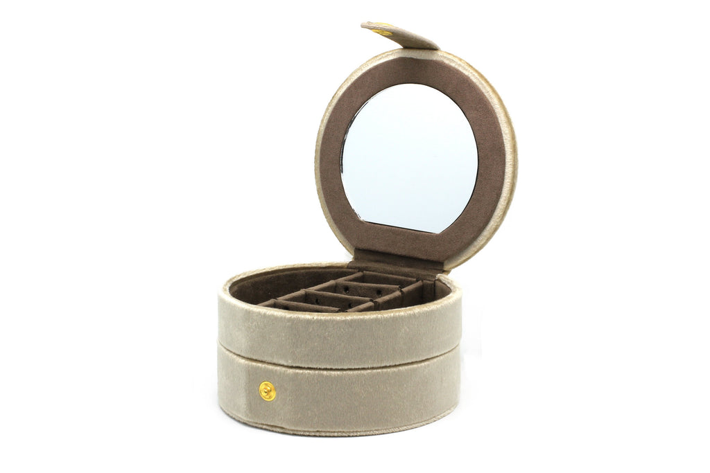 Shalimar Taupe Round Velvet Jewellery Box - Boho Betty USA