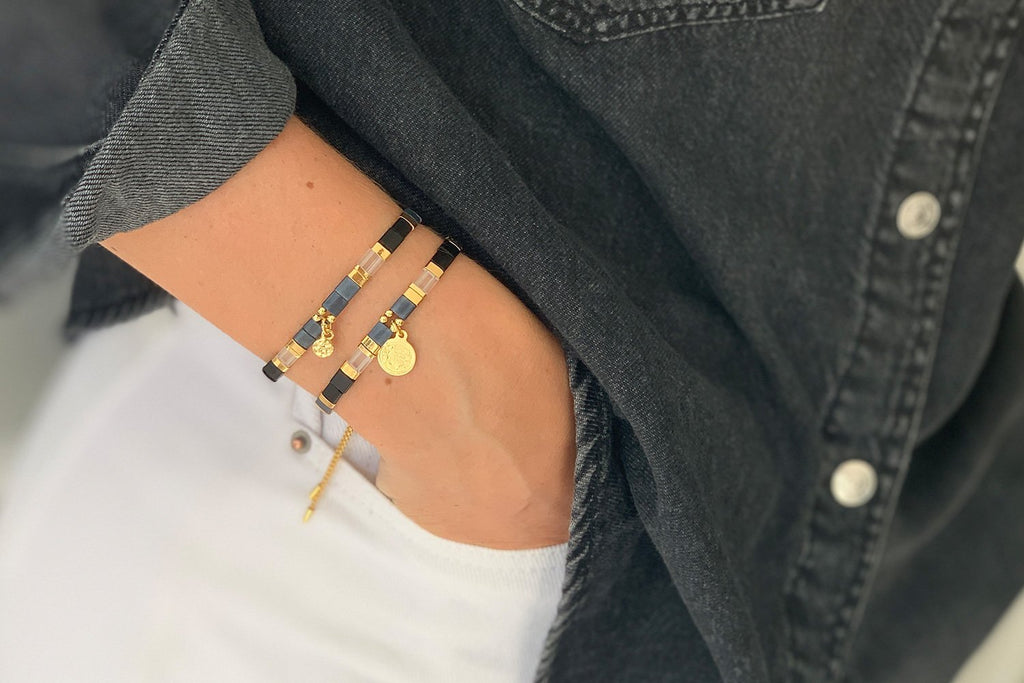 Dubai Midnight 2 Layered Bracelet Stack - Boho Betty