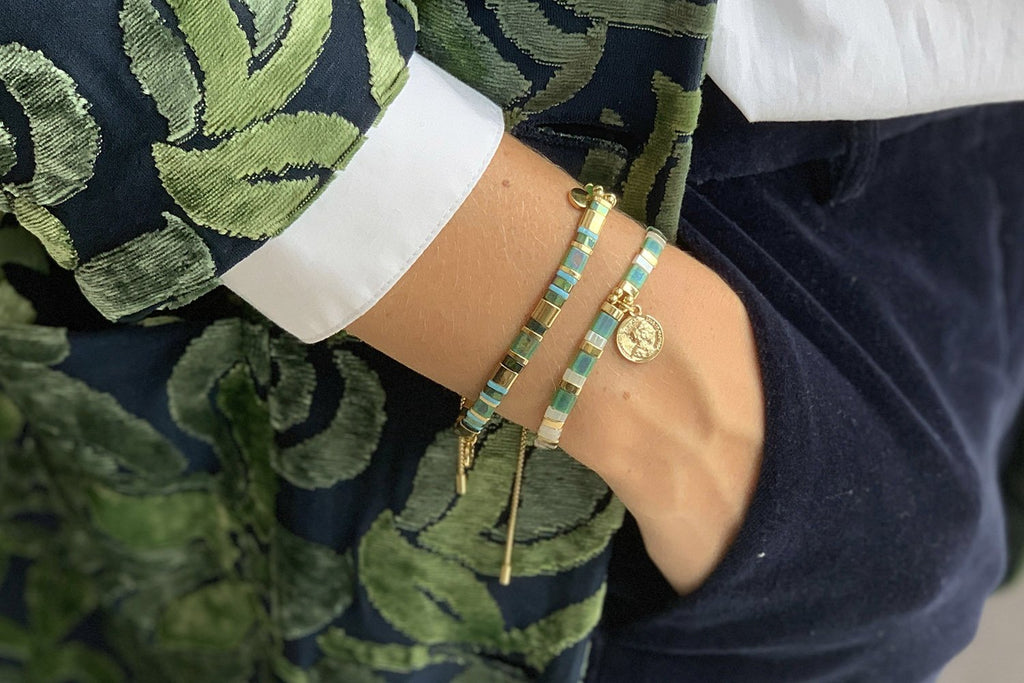 Dubai Green 2 Layered Bracelet Stack - Boho Betty